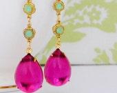 Fuschia Vintage Art Deco Green Opal Swarovski Earrings