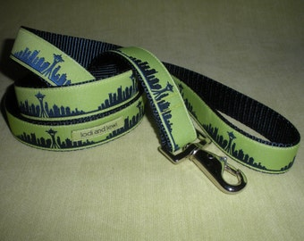 Seattle Skyline Leash Blue with Lime