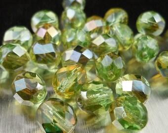 Chrysolite Celsian - Czech Glass Beads 8mm Faceted Bead - 12 (G - 488)
