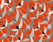 Chiyogami or yuzen paper - long life cranes in red, black and grey, 9x12 inches