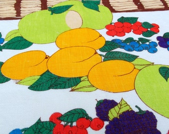 Fruit and Flower Basket - Vintage Kitsch Tea Towel - Lyons Bakery