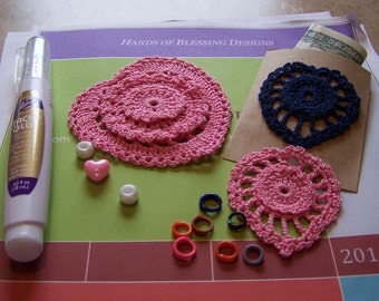 Hearts are Blooming - PDF pattern for two sizes of layered crochet hearts