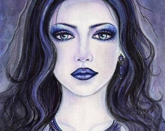 Aceo print Morgan Le Fay  gothic art by Renee Lavoie