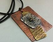 Sterling Silver Copper Brass Pendant Necklace Men Women OOAK