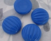 12 pcs. vintage fluted ridged blue plastic cabochons 20mm - f2956