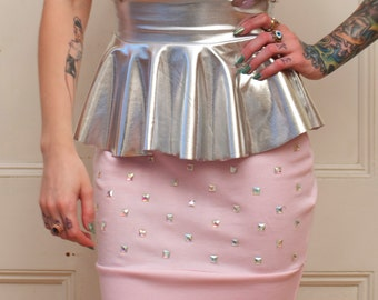 Silver and Studs Suspender Ruffle Skirt in Pink MADE TO ORDER