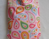 Pink Paisley Hearts and Flowers Flannel Hot Water Bottle Cover