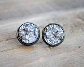 Silver Druzy Earrings. Antique Brass Setting. Bridesmaids Earrings.