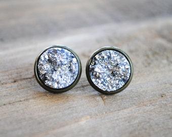 Silver Druzy Earrings. Antique Brass Setting. Bridesmaids Earrings.
