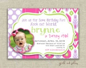 First 1st Birthday Girl Photo Invitation Pink Ikat lavender green - Digital - by girls at play Etsy girlsatplay