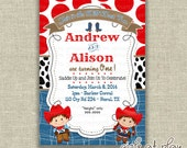Twins First Birthday 1st Invitation Invite Cowboy Cowgirl Western Rodeo cow print - Printable - by girls at play girlsatplay