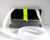 Cross body bag purse black wool grey knit neon yellow fluorescent leather flap shoulder bag memake handmade