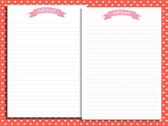 a4 hello friend printable stationery pen pal pack by With pen pal letter stationery