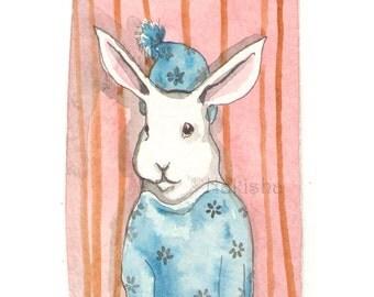 Original Watercolor Rabbit Painting - Pajamas - ACEO