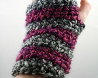 Gray and Purplish-Pink Striped Crocheted Wrist Warmers (size S-M) (SWG-WW-SH05)