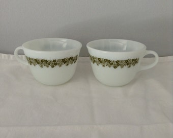 Vintage Pyrex Milk Glass Coffee Cups