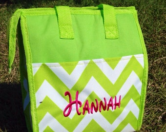Lemon Lime Chevron Lunch Box Tote with Monogrammed Name or Initials
