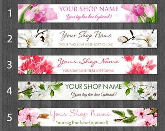 Spring Etsy Banners, Flower Etsy Banner Cover Photo, Tulip Banner, Magnolia Banner, Cherry Blossom Banner