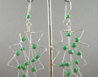 Earrings Sterling Silver and Green Glass Abstract Freeform