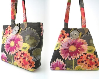 shoulder bag, pink floral tote bag, grey handbag, diaper bag, fabric purse