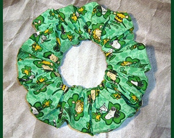 Peanuts Gang Hair Scrunchie, Themed Fabric Ponytail Holder, Hair Tie, St. Patrick's Day