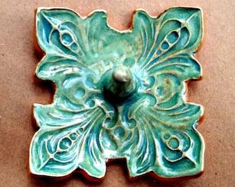 Ceramic Ring Holder Bowl fleur de lis Sea Green with gold edging