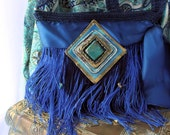 Boho blue tassled applique cross body bag
