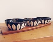 "RESERVED Catherineholm Lotus  4"" Bowl Trio with Teak Tray - RARE"