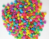 Tiny 2 hole flower button - 4 mm.  100 pcs assorted colors for making Barbie, Blythe and dolls clothes SET 7