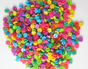 Tiny 2 hole flower button - 4 mm.  100 pcs assorted colors for making Barbie, Blythe and dolls clothes SET 9