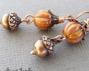 Acorn Earrings, Pagan Jewellery, Antique Copper With Czech Glass Beads, Rose Gold Earrings, Wiccan Jewellery, Nature Inspired Earrings