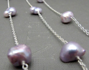"Bridal Lilac or Pink Pearl Long Necklace // Silver Plated Chain // Lilac or Pink Large Freshwater Pearls // 36"" Silver Necklace"