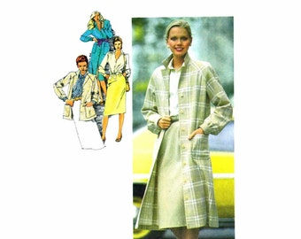 1980s Womens Coat Jacket Dress Skirt Blouse Tie Simplicity 9482 Vintage Sewing Pattern Size 14 Bust 36 UNCUT