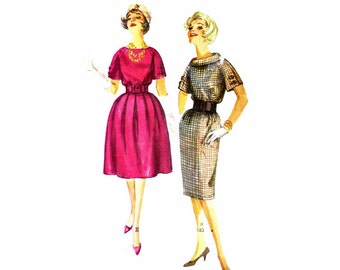 1950s Womens Wiggle Dress Full Skirt Dress Simplicity 3158 Vintage Sewing Pattern Misses Size 14 Bust 34 OR Size 16 Bust 36