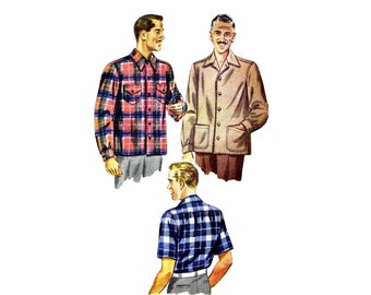1940s Mens Shirt Simplicity 1961 Vintage Sewing Pattern Mans Shirt Double Yoke Front Buttoned Chest 38 - 40