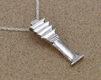 Djed Pillar Pendant - Sterling Silver - Ancient Egyptian Amulet