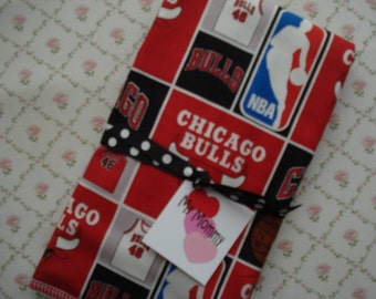 Boy or Girl Cotton Burp Cloth Red and Black  Made with Chicago Bulls NBA 100% Cotton Fabric