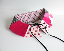 Pink col Claudine de Bouche cousue/ Peter Pan collar, easter, spring, pink, dots, plaid black and white, reversible.