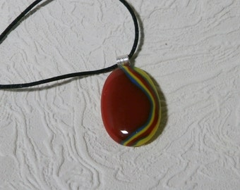 Red Marblized Fused Glass Pendant With Silk Necklace