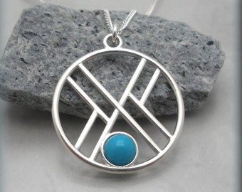 Round Geometric Necklace Sleeping Beauty Turquoise Jewelry Minimalist (SN779)