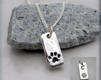 Dog Paw Necklace, Pet Necklace, Sterling Silver, Pendant, Charm, Tag, Paw Print, Animal, Pet Lover, Dog Lover, Pawprint, Pet Memorial SN646