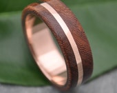 ROSE GOLD Wood Ring Solsticio Oro Nacascolo - 14k rose gold, pink gold wood wedding band, wood wedding ring, wood ring with rose gold