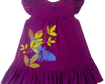 Baby Girl Outfit, Baby Girl Clothes, Baby Shower Gifts, Hipster Baby Clothes, Luna Moth Baby Toddler Girls Organic Dress, Direct Checkout