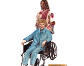 """He is with You Always  8.5 x 11"""" print by Ray Young Chu (Jesus Terminator Taking Care of the Elders in a Wheelchair)"""