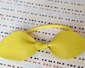 Nappa  Leather Bow Hair Tie in bright yellow