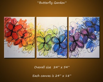 Rainbow Painting Abstract Butterlfies Triptych Large Modern Wall Art ... red yellow blue green ...24 x 54 ... Butterfly Garden