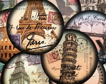 Set of TWO 2.5 inch circle collage sheets French Paris London Italy Pyramids World Tour -- 2.5 inch circles -- piddix 875 and 876