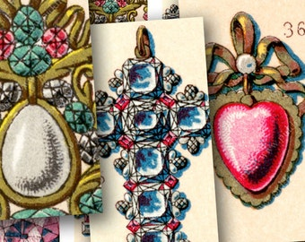 French Jewelry 16th and 17th Century printables Unbelievably Gorgeous 1x2 inches dominos, glass -- piddix digital collage sheet 941