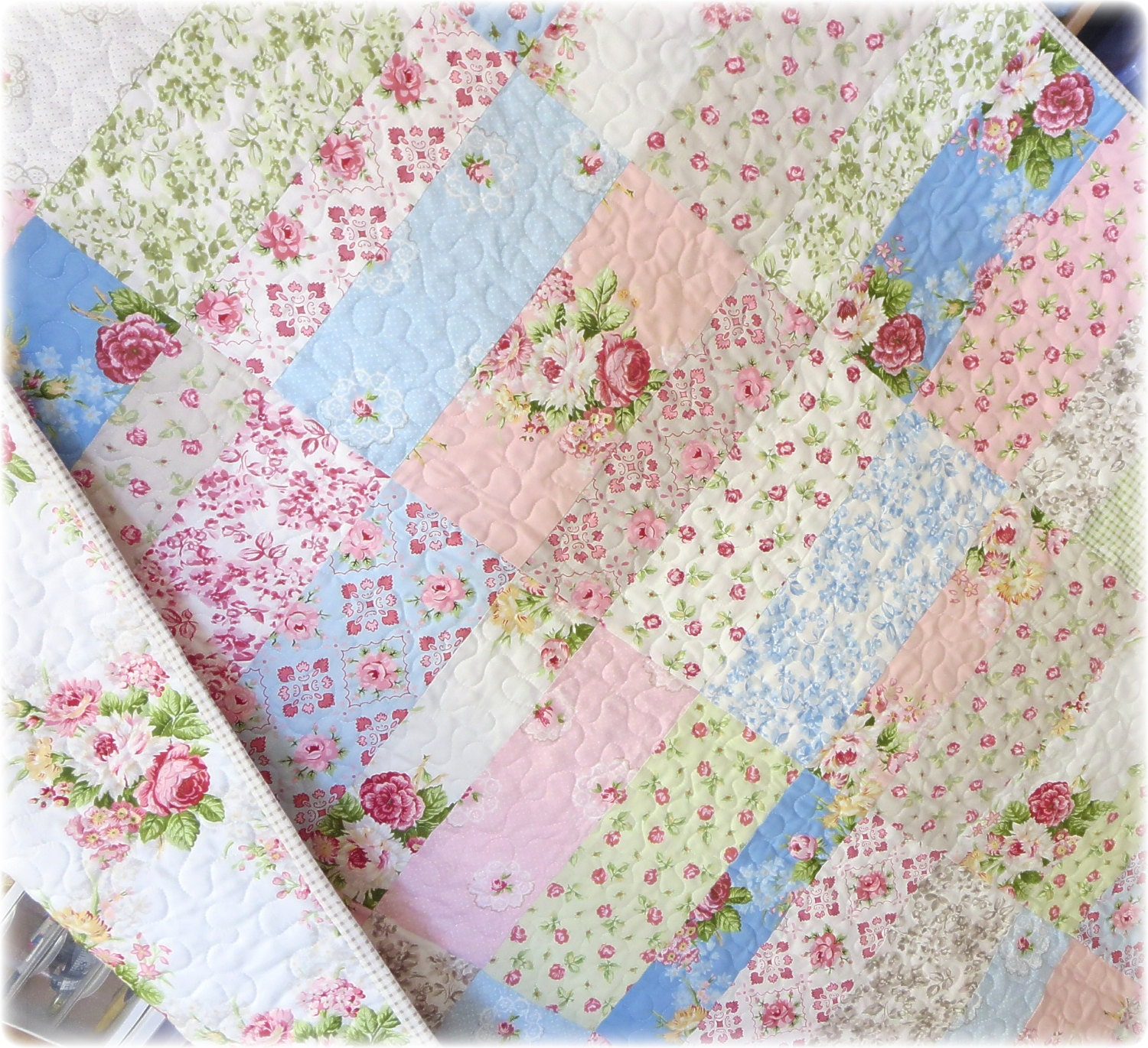 Baby Girl Quilt Cottage Chic Lecien Hill Farm By