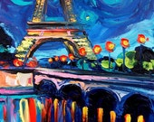 Commission Eiffel Tower custom original oil painting by Aja Seine 30x40 inches